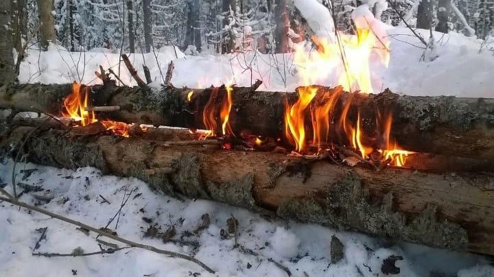 Нодья зимой