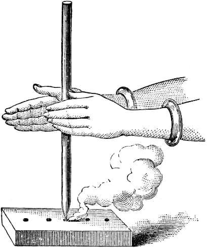 Добыча огня с помощью ручной дрели