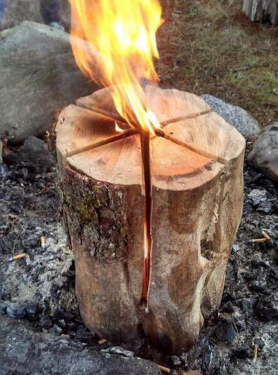 Финская свеча с продольными пропилами