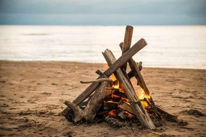 На берег нередко выбрасывает стволы деревьев, которые можно использовать для костра