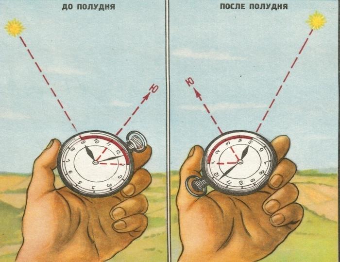 Стороны света можно определить по часам