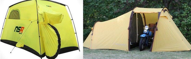 Палатки: велосипедная NSR Riding и мотоциклетная Nomad 3