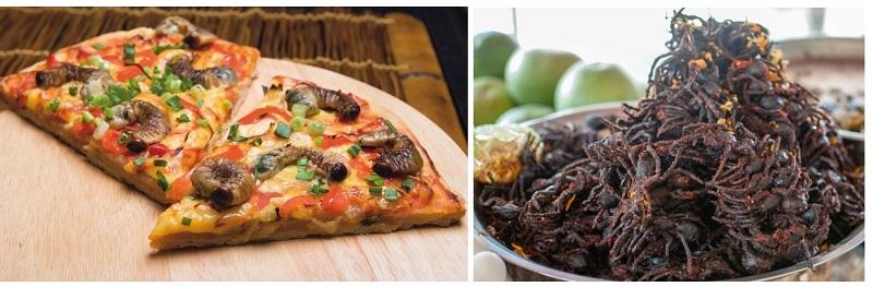 Пицца с личинками жука носорога и жареные тарантулы