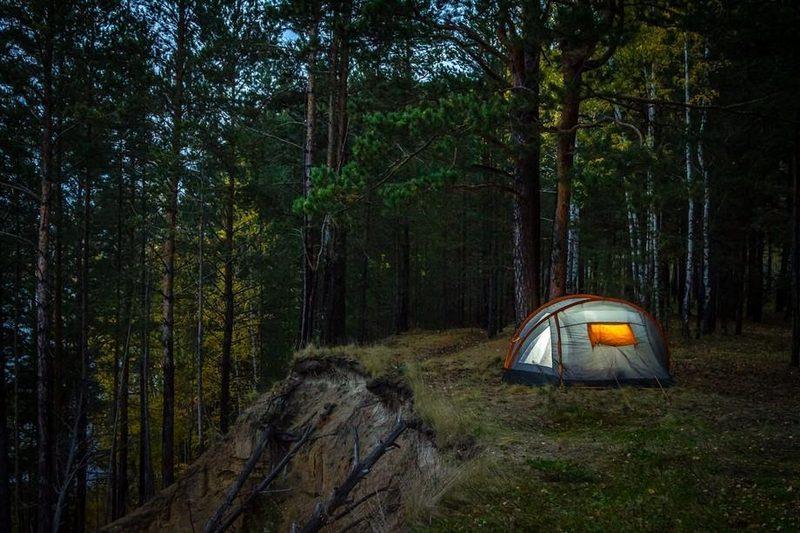 Поход в лес длится не один день и включает в себя обязательную ночевку в палатке