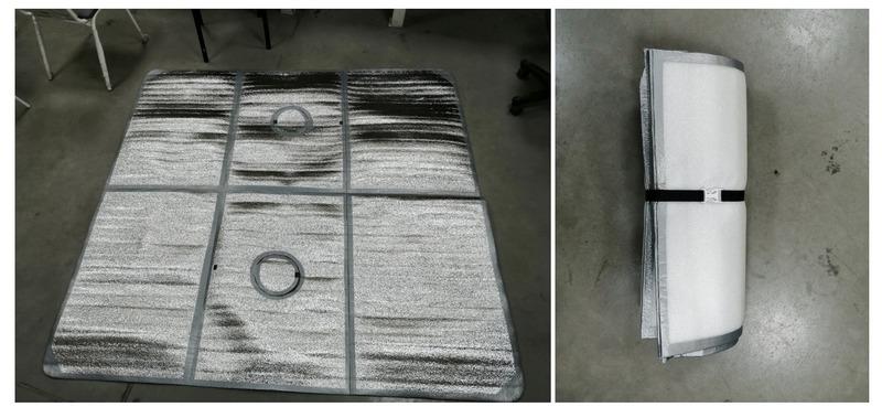 Вариант изготовления пола из туристических ковриков, склеенных между собой армированным скотчем