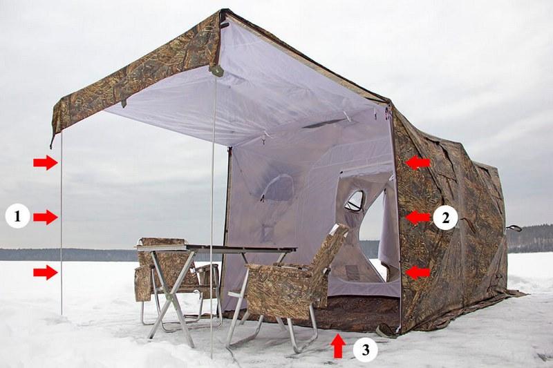 Технология установки откидной стенки палатки