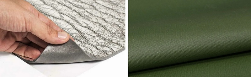 Утепленный пол для палатки состоит из слоя ткани Оксфорд 300 и фольгированного изолона