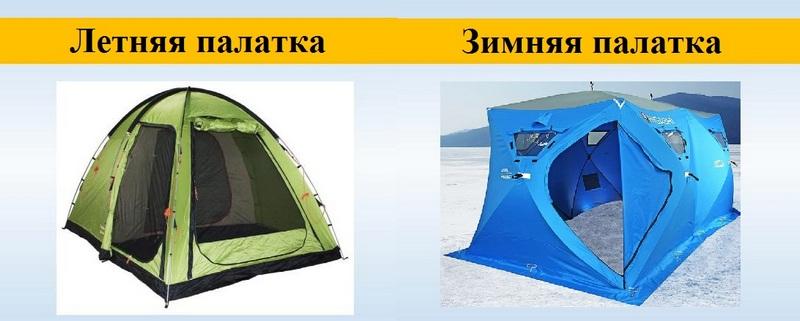 Зимние палатки от летних моделей отличаются конструктивными особенностями