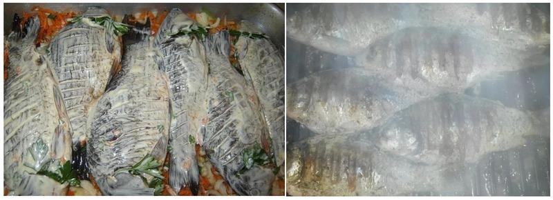 Для приготовления на мангале карася вымачивают в майонезном маринаде