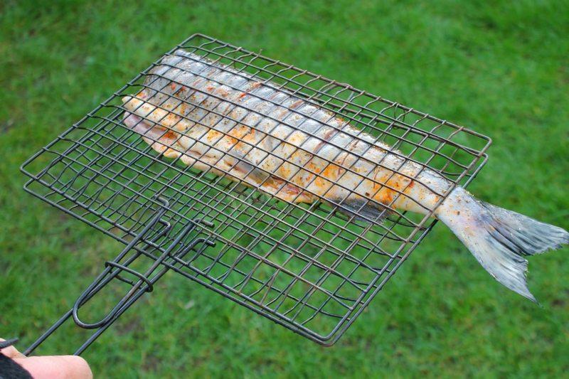 Горбуша, приготовленная на мангале на решетке - это бесподобно вкусное блюдо для пикника