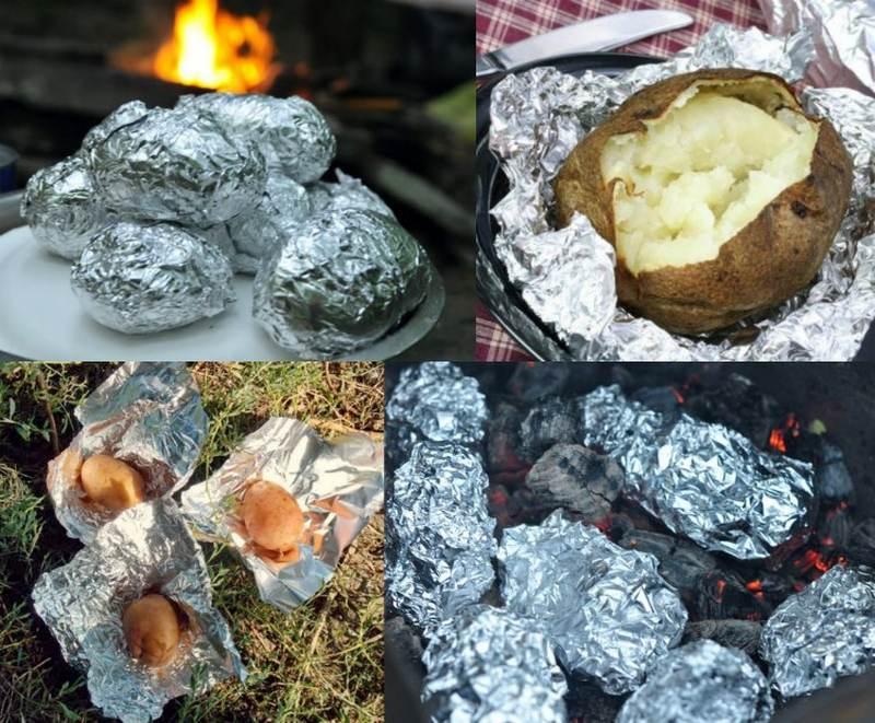 Картофель в фольге, запеченный на углях