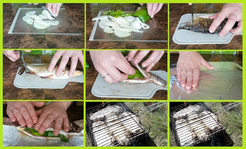 Пошаговый рецепт приготовления карася в фольге на решётке