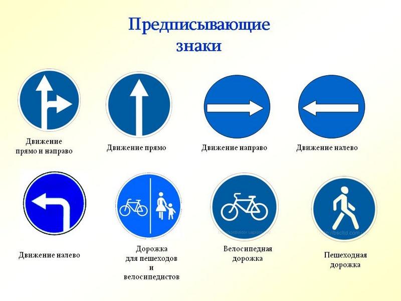 Предписывающие указатели выполнены в форме круга с белым ободком