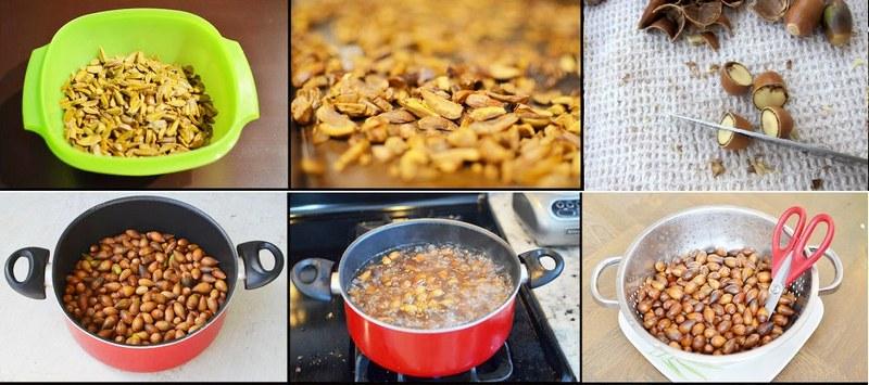Процесс кулинарной обработки желудей
