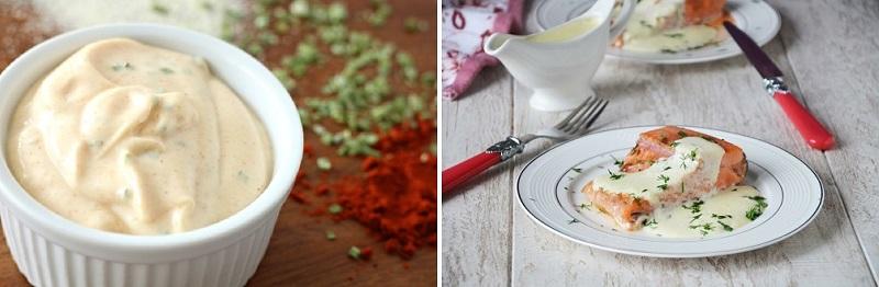 С семгой хорошо гармонирует классический соус из сливок