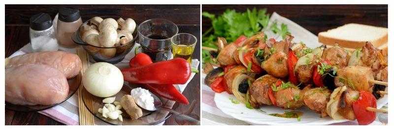 Шашлык из курицы и шляпок шампиньонов с картошкой -великолепная закуска для пикника