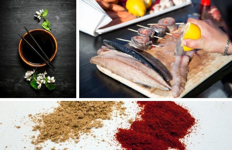 Шашлык из скумбрии в виде рулетов с имбирем, паприкой и соевым соусом получается сочным и насыщенным