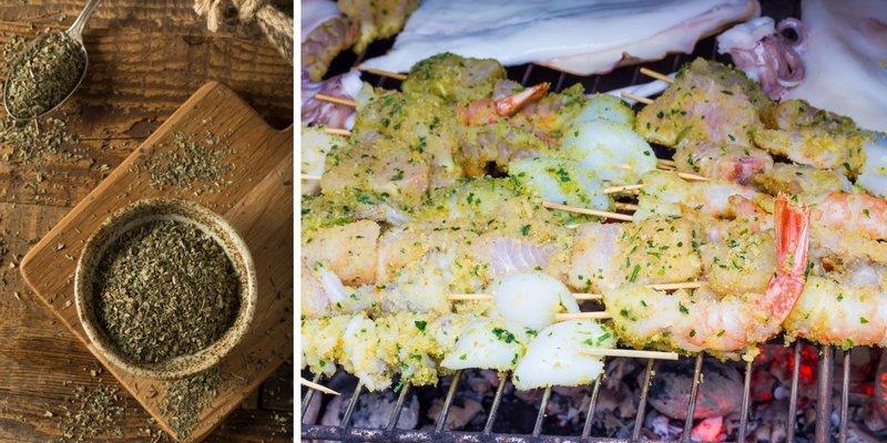 Шашлык из сома на решетке, приправленный базиликом - это хороший вариант блюда для приготовления на природе