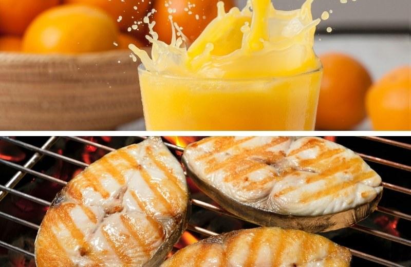 Скумбрия на мангале в апельсиновом соке приятно удивит своим оригинальным вкусом