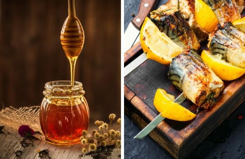 Скумбрия в медовом маринаде получается сочной и мягкой.