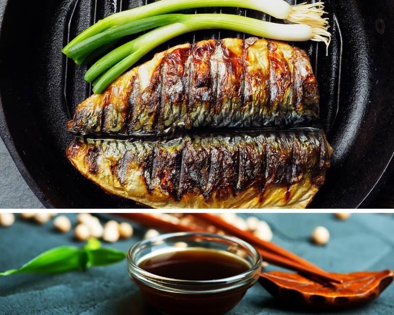 Скумбрия в соевом соусе на решетке получается сочной и ароматной