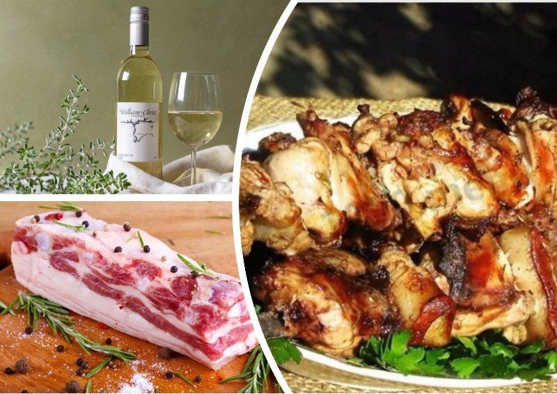 Сочный шашлык из кролика с салом на белом вине приятно удивит своим оригинальным вкусом