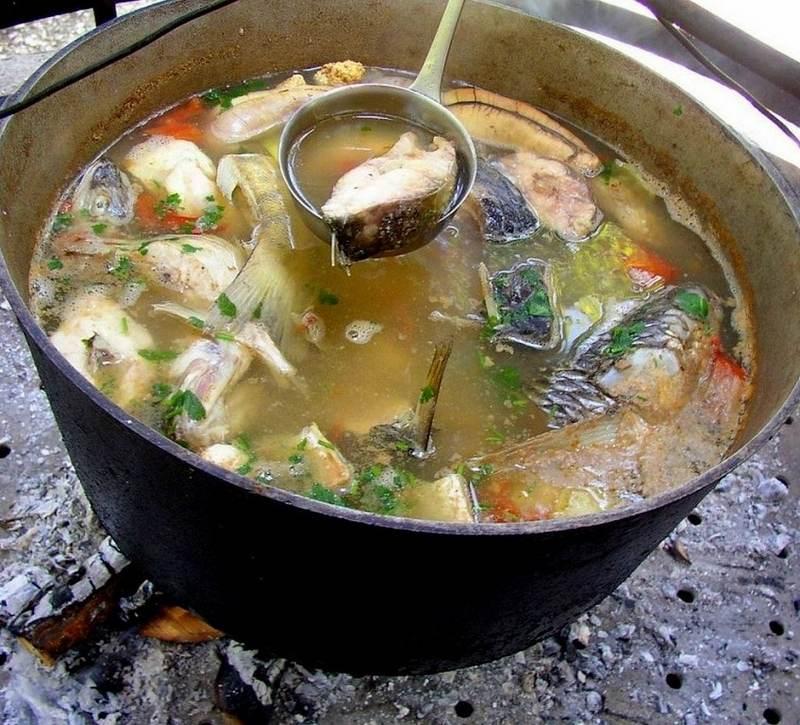 Тройная рыбацкая уха готовится на бульоне из трех видов рыб