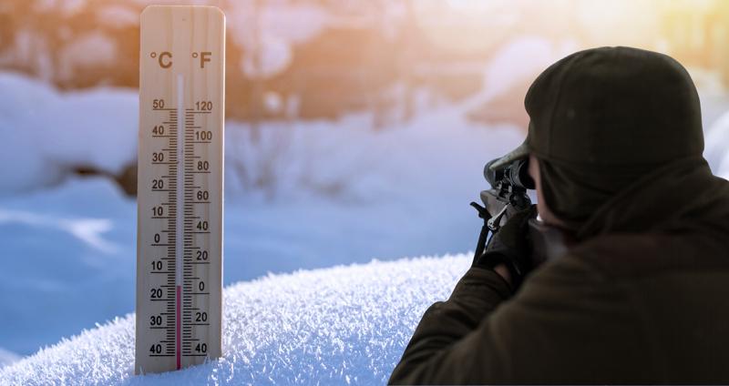В зимнюю пору на зайца охотятся при температуре в пределах -15 градусов.