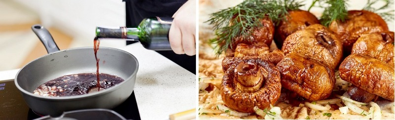 Весьма вкусными и аппетитными получаются шампиньоны под винным соусом