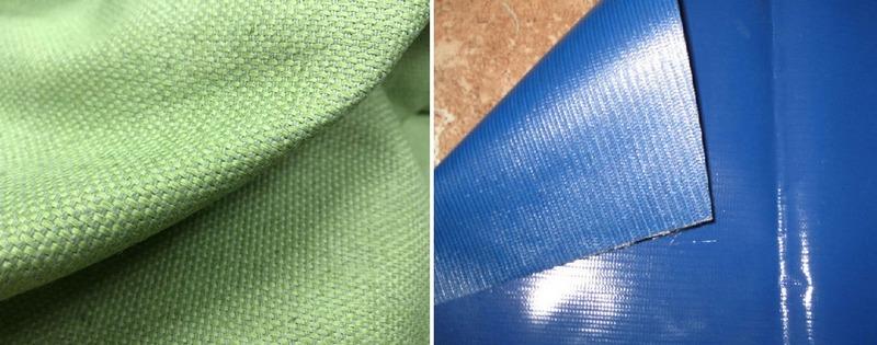 Для тента можно использовать натуральный брезент или синтетическую ткань с ПВХ-покрытием