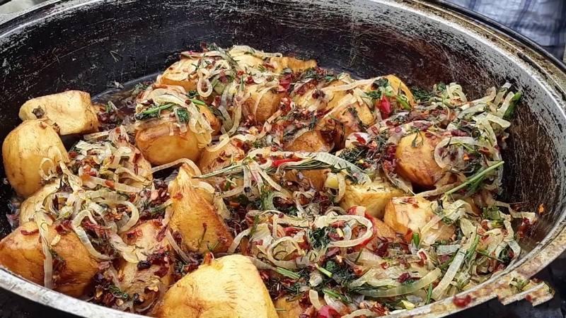 Казан кабоб с капустой - отличная закуска, приготовленная в казане на огне