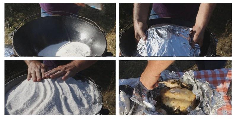 Курица под солью - это интересный рецепт для сытного и яркого обеда на природе