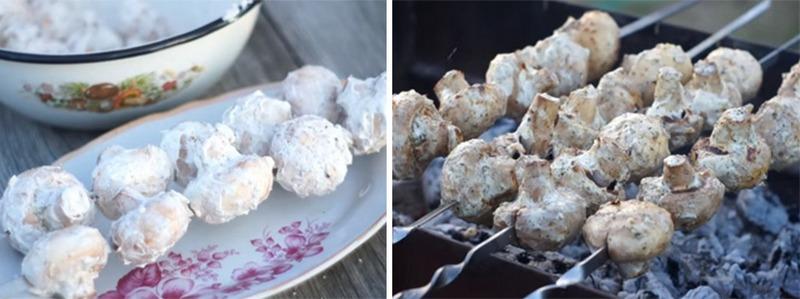 Невероятно вкусные шампиньоны со сметаной на мангале можно подавать в качестве гарнира или самостоятельного блюда