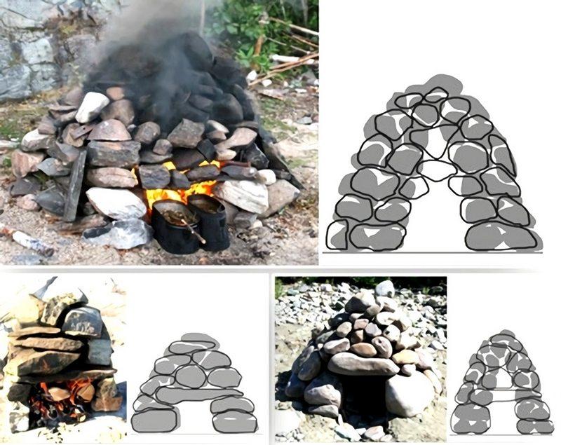 Печку-каменку для походной бани складывают на месте из больших булыжников