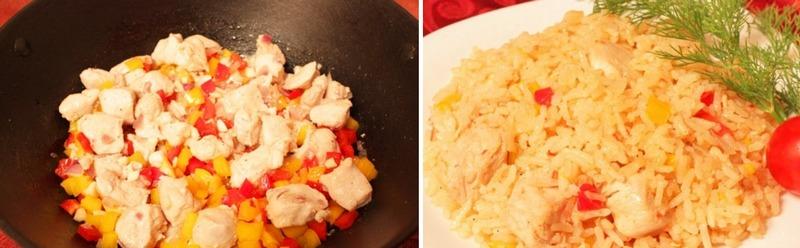 Рис с овощами и курицей - это здоровая альтернатива калорийной, жареной еде