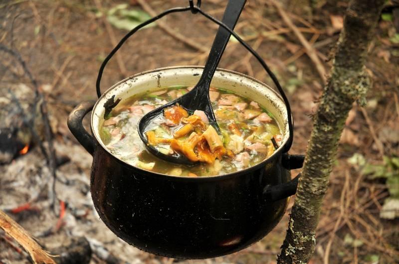Суп со свежими грибами быстро насытит путешественников