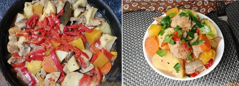 Жаркое из свинины с грибами, тыквой и картошкой - простое, но питательное блюдо для трапезы на природе